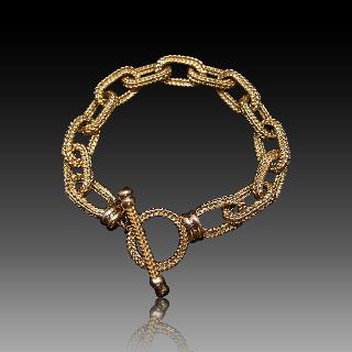 Bracelet maille chaine d'ancre en or jaune 18 Carats massif . 57.8 gr