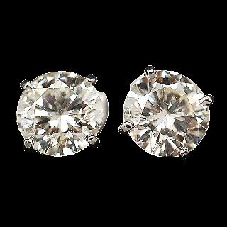 Puces d'oreilles en Or 18 Cts avec Diamants brillants 2,09 Cts et 2,07 Cts. K-VS1-VS2.