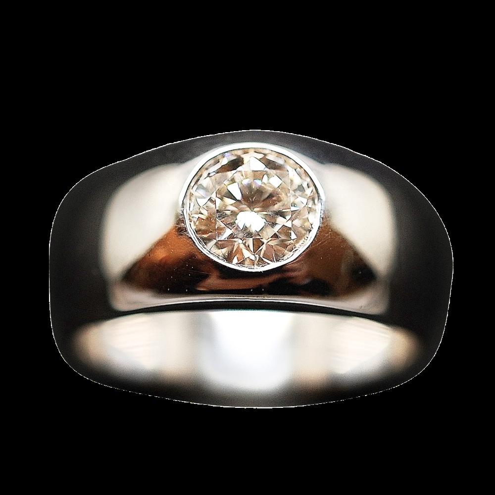 Bague Jonc Anglais en Or gris 18K Massif  avec Diamant Brillant 1,23 Cts K-VS2.