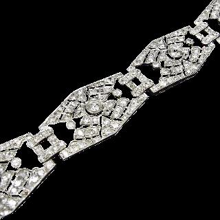 Bracelet Platine Art Déco Avec 9.0 Cts de Diamants