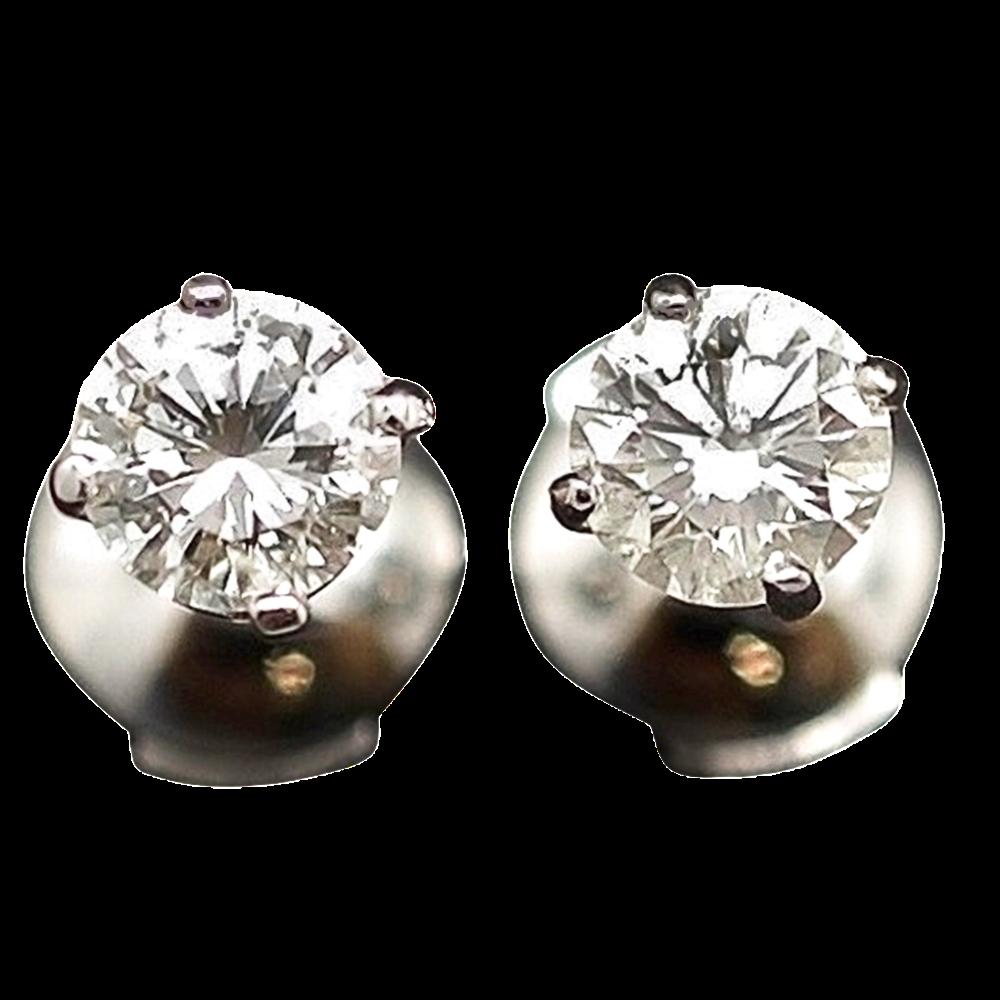 Puces d'oreilles Diamants 2 x 0.49 Cts G-VS en Or Gris 18k