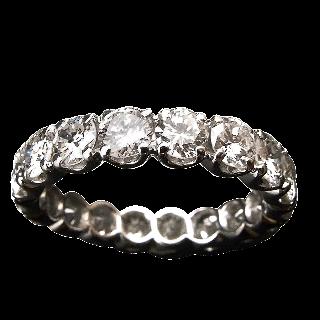 Alliance or gris 18k avec 2.80 Cts de Diamants Brillants G-VS. Taille 53-54.
