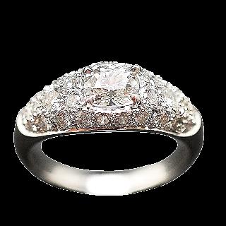 Bague Or Gris 18k avec 1.54 Cts de Diamants brillants et Coussin.