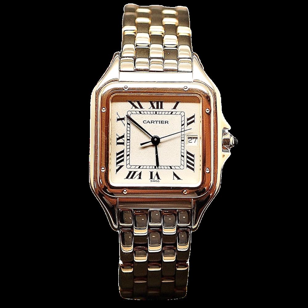 """Montre Cartier """"Panthère"""" homme GM en Or 18k massif quartz Vers 1998."""