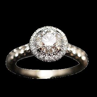 Solitaire Cartier Platine, Diamant 0,64 ct H-VS1 (GIA) + bts de 2014  Taille 49.