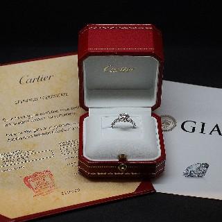 Solitaire Cartier Platine, Diamant 0,64 ct H-VS1 + bts de 2014  Taille 49.