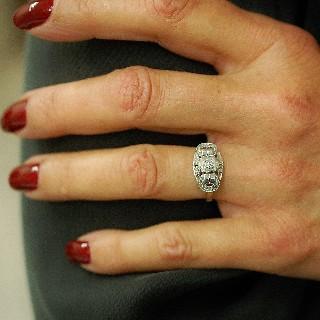 Bague en Or 18 Cts & platine avec 0.15 Ct  de Diamants taille ancienne .Taille 54