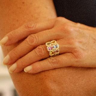 Bague Or Jaune 18K Massif  avec pierres naturelles et Diamants . Taille 52-53.