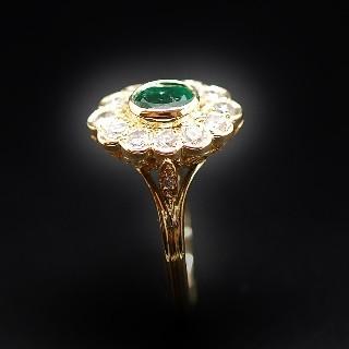 Bague en or jaune 18k avec Emeraude et diamants .Taille 57