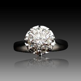 Solitaire en platine avec Diamant brillant de 1.67 Cts I-SI2 .
