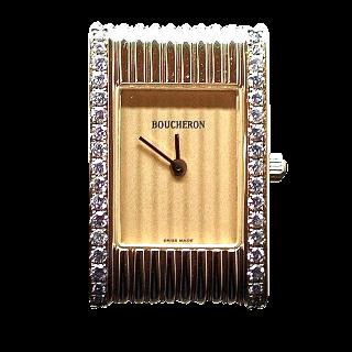 Montre Boucheron Reflet Dame Petit Modèle en Or Jaune 18k avec diamants quartz .