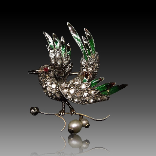 """Broche """"Oiseau """" Or 14K + Email Argent Diamants Taille Rose Et Perles 1860"""