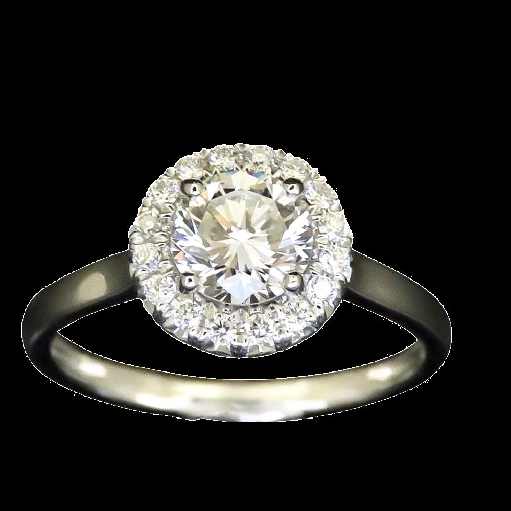 Solitaire en Or 18 Cts avec Diamant brillant 0.66 Cts H-VS2 + 0.30 Cts.
