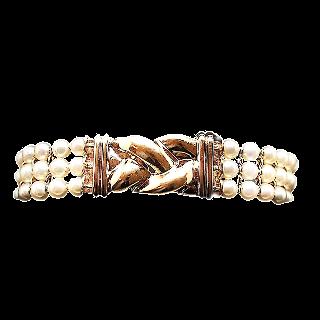 Bracelet or jaune 18k OJ.Perrin avec perles de culture.