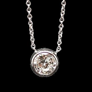 Collier Pendentif Diamant de 1.01 Cts G-VVS2 . Or 18 Cts.