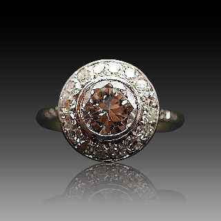 Bague entourage vers 1930 en platine avec 1.75 Ct de Diamants.Taille 51-52