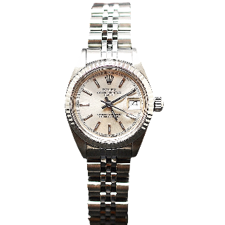 Montre Rolex Oyster Date Dame Acier de 1981. Cadran Gris. Ref : 6919 .