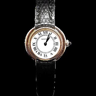 """Montre Cartier Dame """"Ellipse"""" Or Jaune et Gris 18k Vers 1980 Mécanique"""