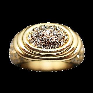 Bague Or Jaune 18K avec 1,6 Cts De Diamants Brillants H-VS