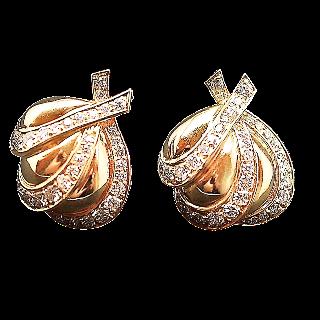 Boucles d'oreilles Clips en or 18k massif  avec Diamants brillants.