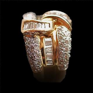Bague Or Jaune 18K avec Diamants Brillants et Trapèzes