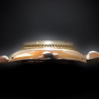 Montre Rolex Oyster Date Dame Or & Acier de 1976. Cadran jaune. Ref : 6917 .