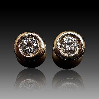 Puces d'oreilles Diamants 2 x 0.20 Cts G-VS en Or Jaune 18k