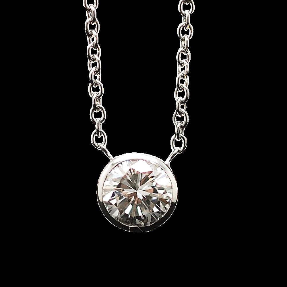Collier Pendentif Diamant de 0.74 Cts I-VS2 . Or 18 Cts.