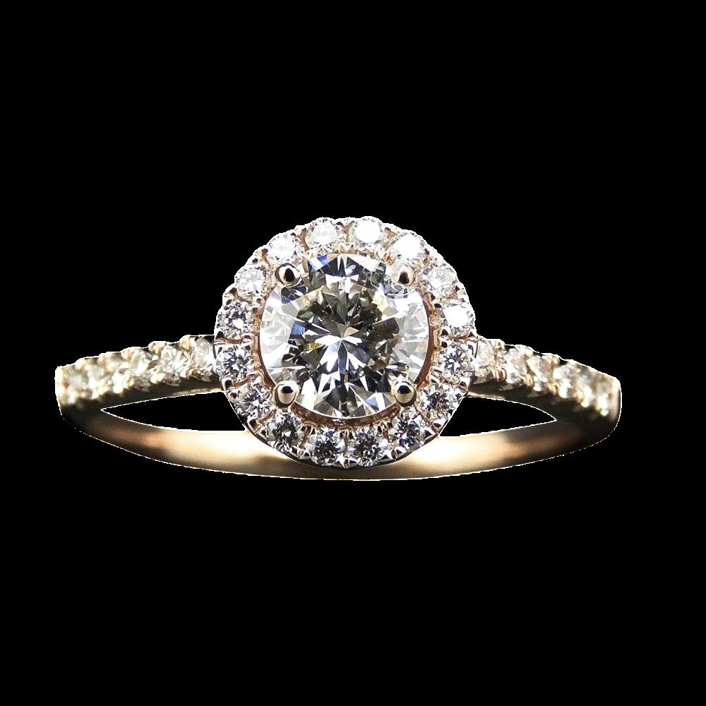Solitaire en Or rose 18 Cts avec Diamant brillant 0.54 Cts E-VVS2 + 0.24 Cts.