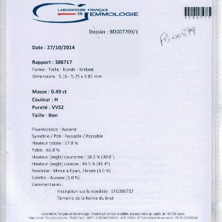 Collier Pendentif avec Diamant de 0.49 Cts H-VVS2  + 0.15 Cts Or 18 Cts.