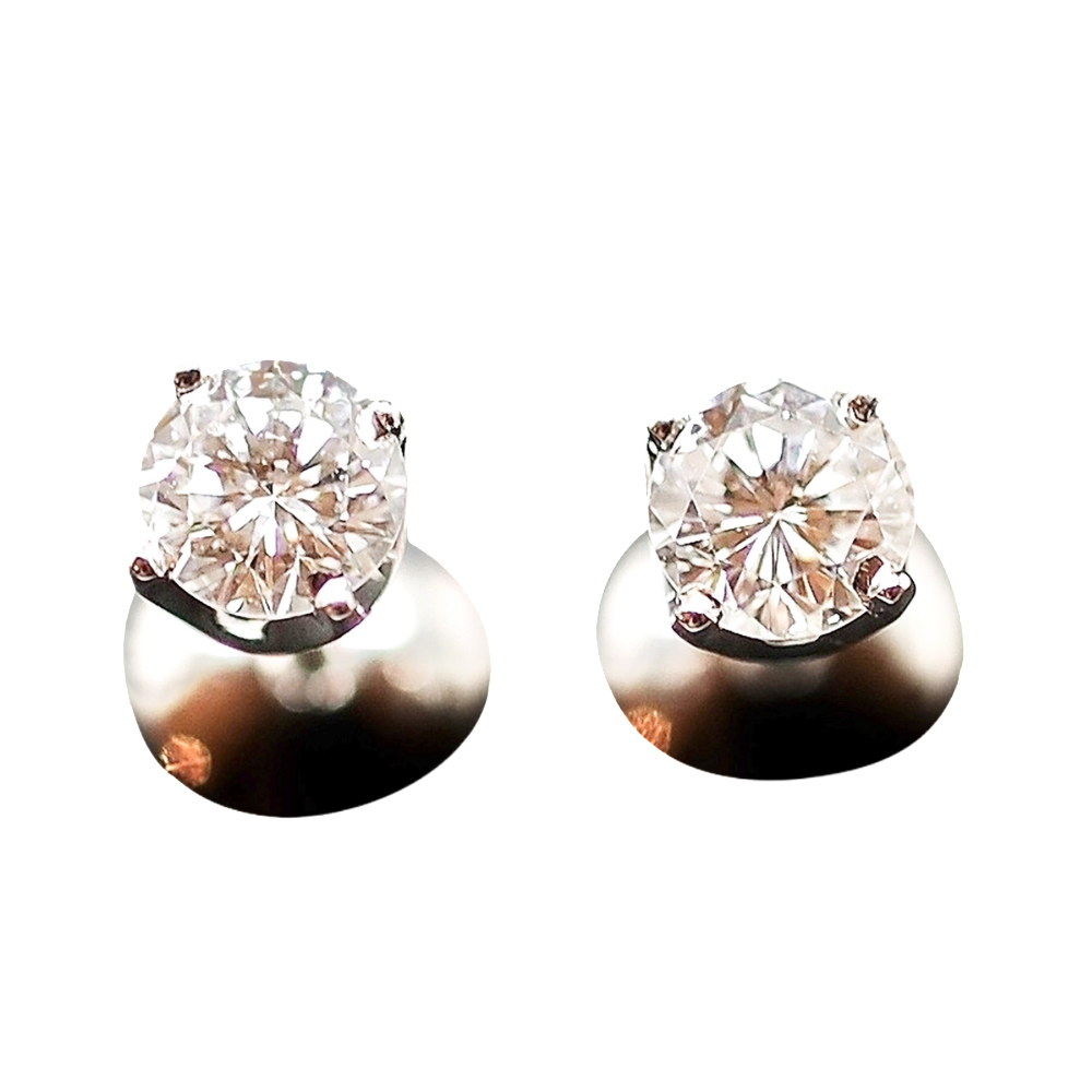 Puces d'oreilles Or gris 18k avec 2 Diamants brillants 0.50 Cts et 0.46 Cts. F et VS2/SI1