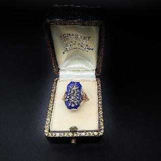 Bague émaillée or rose 18k vers 1890 avec roses de diamant.