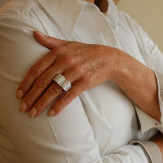 Bague Coeur Or Gris 18k avec 10 Cts de Diamants H-VS.