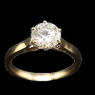 Solitaire Diamant 1.65 Cts L-P1 en Or jaune 18 Cts . Taille 58.