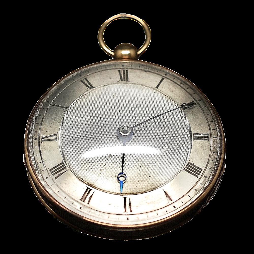 Montre à Gousset Anonyme époque 1822-1838 en or jaune 18k. Mouvement à Coq