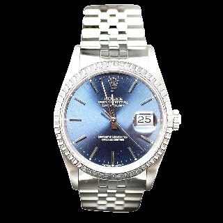 Montre Rolex Oyster Datejust Homme Acier de 1990. Cadran Bleu. Ref : 16220 .