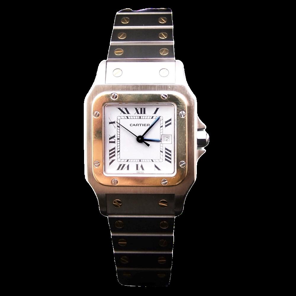 """Montre Cartier Homme """"Santos"""" Rectangulaire en Or et Acier Automatique Vers 1990."""