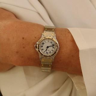 """Montre Cartier dame """"Santos"""" Octogonale en or et acier Automatique Vers 1990."""