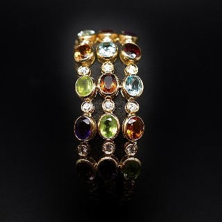 Bracelet or jaune 18k avec Pierres naturelles et diamants