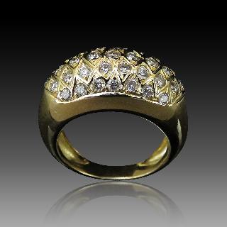 Bague Jonc Or jaune 18 Cts avec 1,0 Carat de diamants taille brillant G-VS.