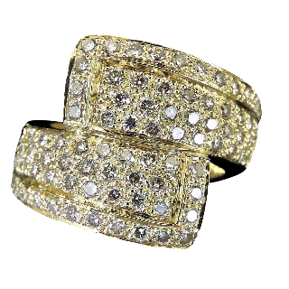 Bague en Or jaune 18 Cts avec 1,55 Ct de diamants taille brillant H-VS.