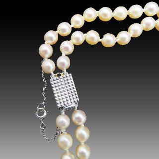 Collier de Perles de Culture du Japon double rangs en chute de 5 mm à 8,5 mm fermoir Or 18k