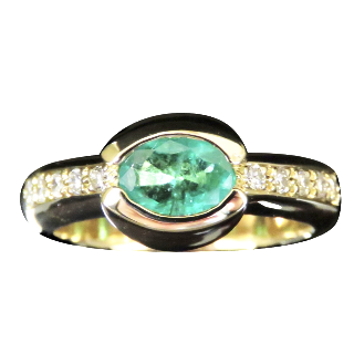 Bague Or Jaune 18K, Emeraude et Diamants brillants