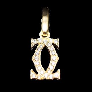 Pendentif Cartier Charms Double C Or jaune 18k Diamants de 1999.