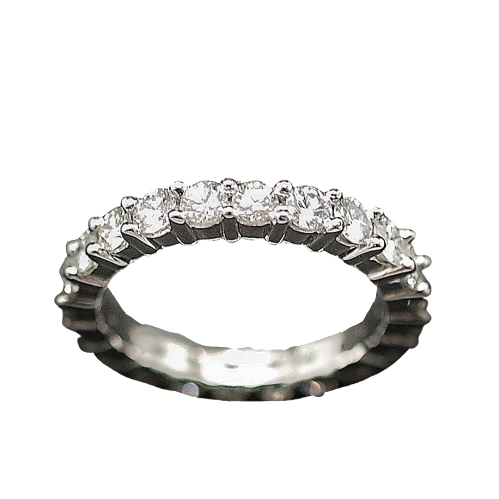 Alliance or gris 18k avec 1.70 Cts Diamants Brillants . Taille 53.