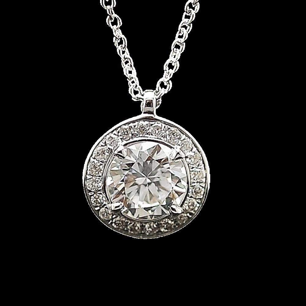 Collier Pendentif avec Diamant de 0.46 Cts F-VS1 +  0.08 Cts Or 18 Cts.