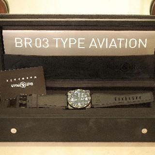 Montre Bell & Ross Acier BR-03 Type Aviation Carbon Quartz Boite et Papiers de 2009