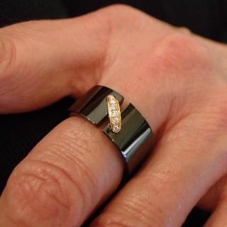 """Bague Chaumet """"Lien"""" en céramique noire or rose 18k diamants. taille 56"""