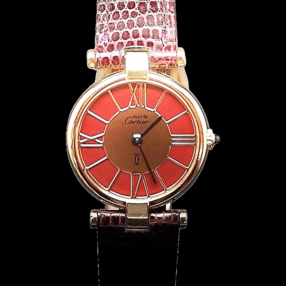 """Montre Cartier Dame """"Must Ronde"""" Vermeil Vers 1990. Quartz"""