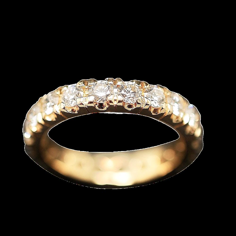 Alliance or jaune 18k avec 1.60 Cts Diamants Brillants . Taille 55.
